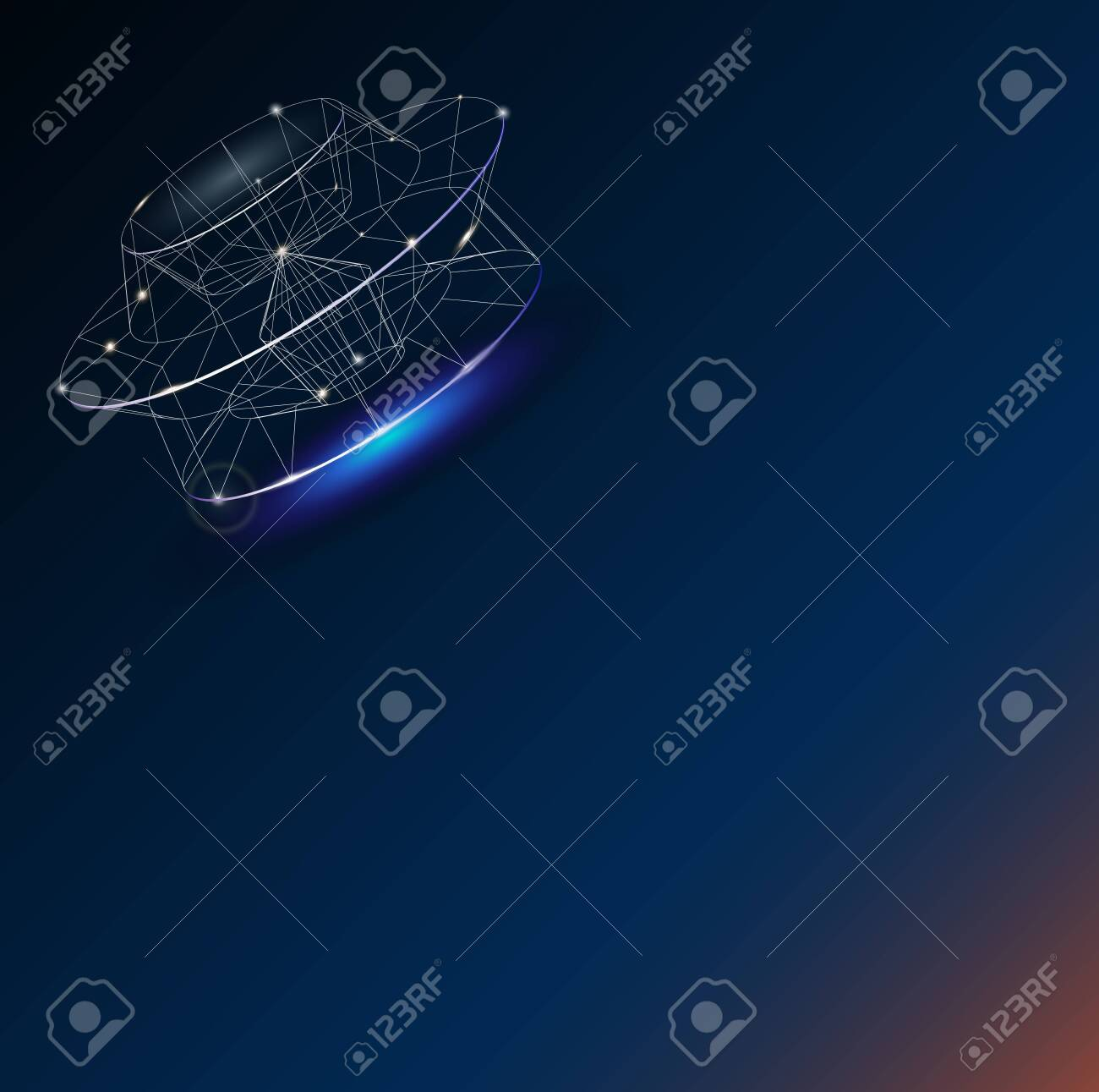 Unidentified flying object in the sky. Space ship - 145109434
