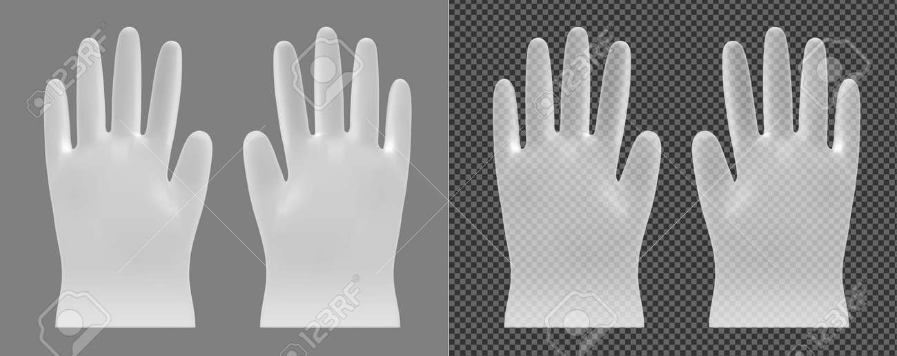 Disposable transparent vector plastic or nitrile gloves - 145117871