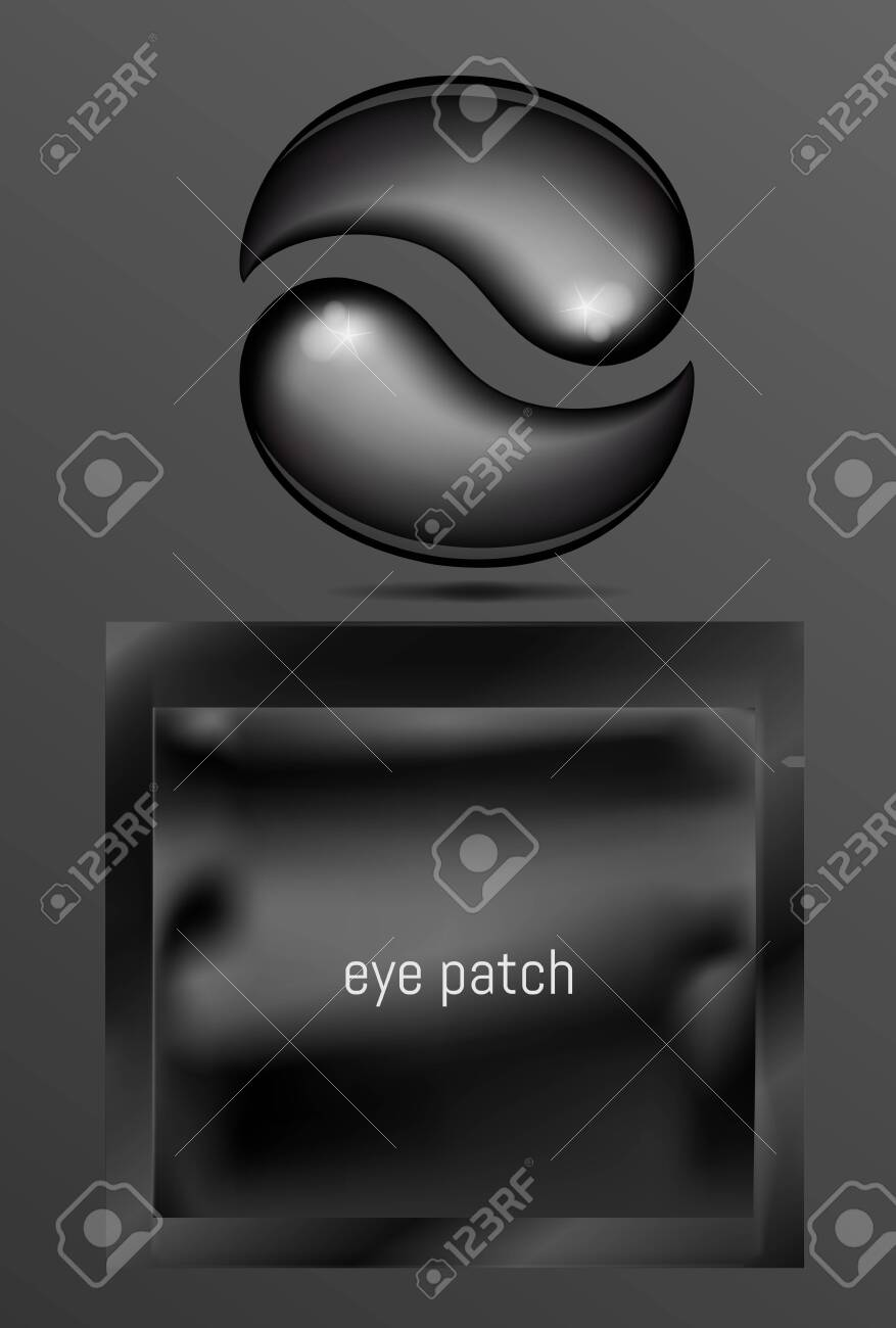 Black foil or plastic sachet for cosmetic and eye gel patches - 145109333