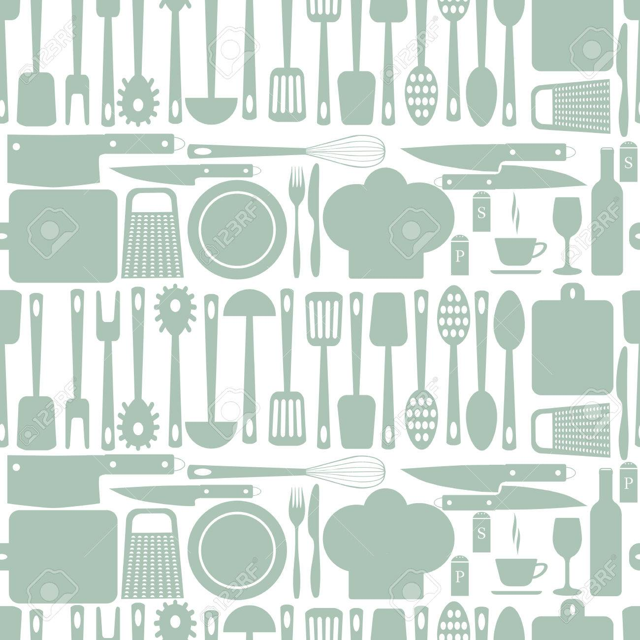 Kitchen Accessories Seamless Pattern Plate Fork Knife Chef Cap Spoon Board Grater Rolling