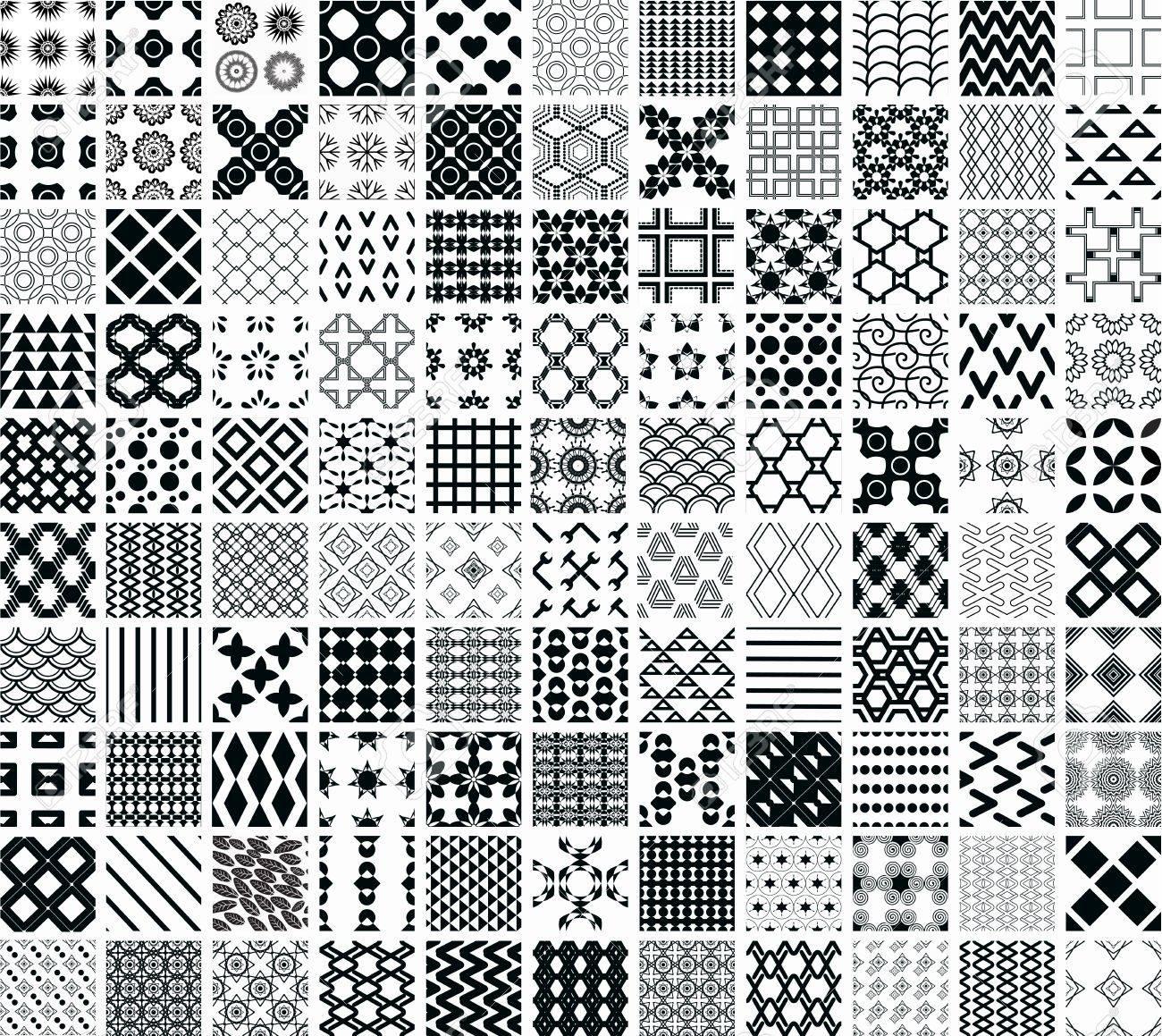 110 Sin Costura Patrones Geométricos Y Adornos En Blanco Y Negro ...