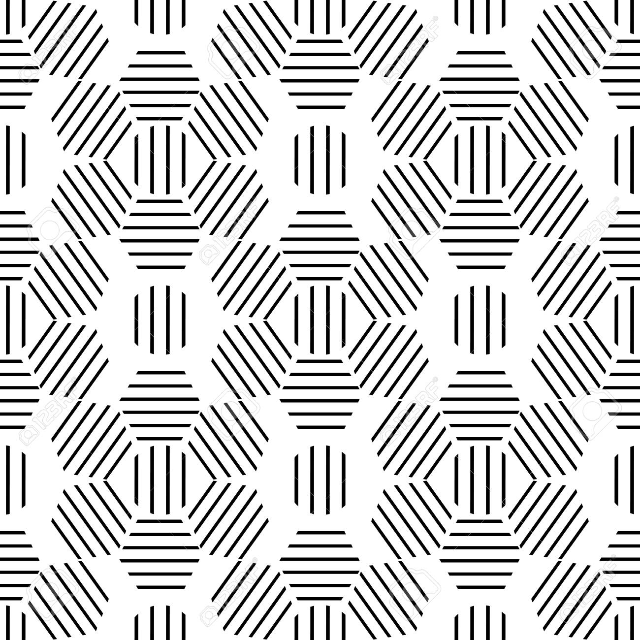 Seamless Monocromo Patrón Geométrico De Líneas Negras En Una ...