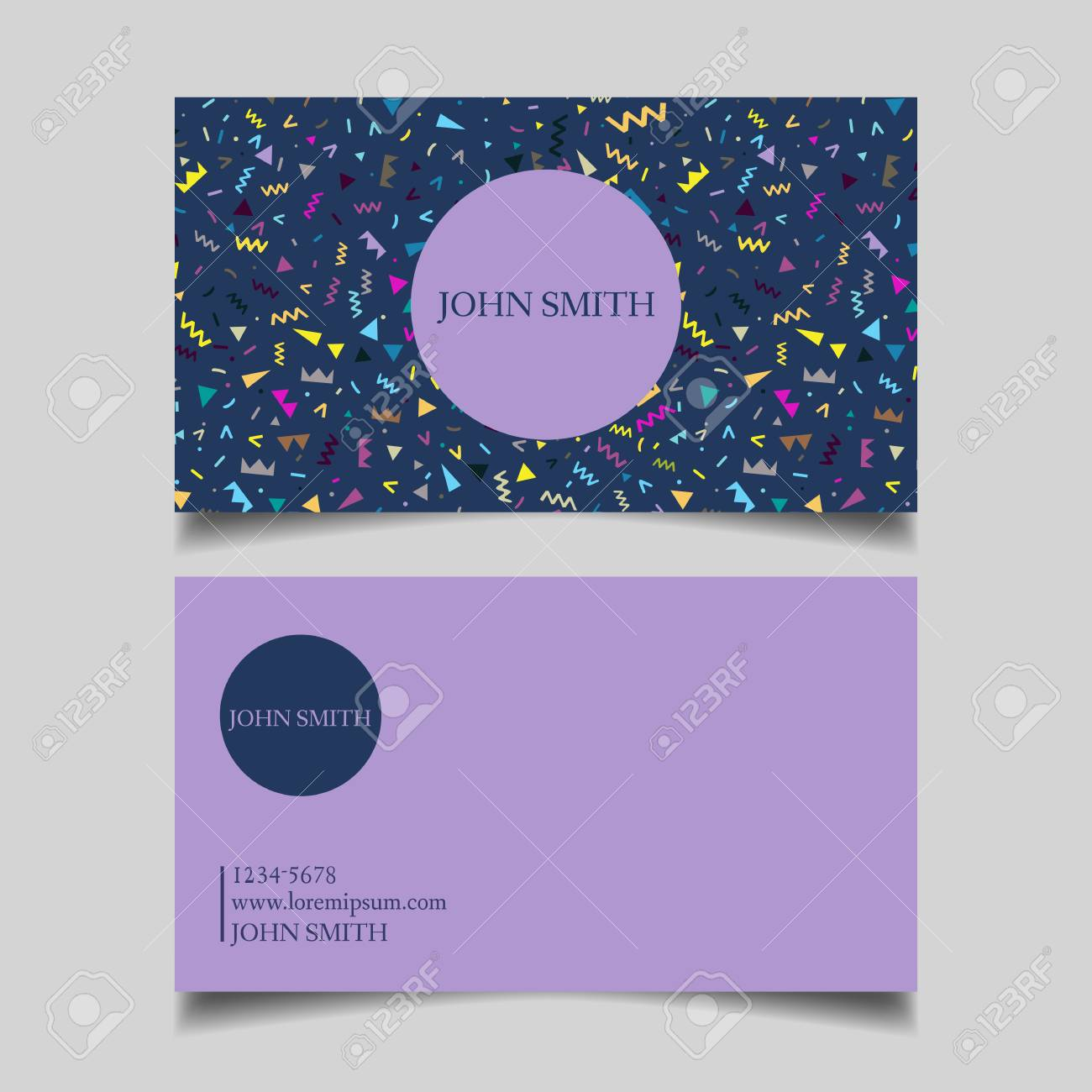 Template Business Card Editable Neat Blue Purple Background The Design Of