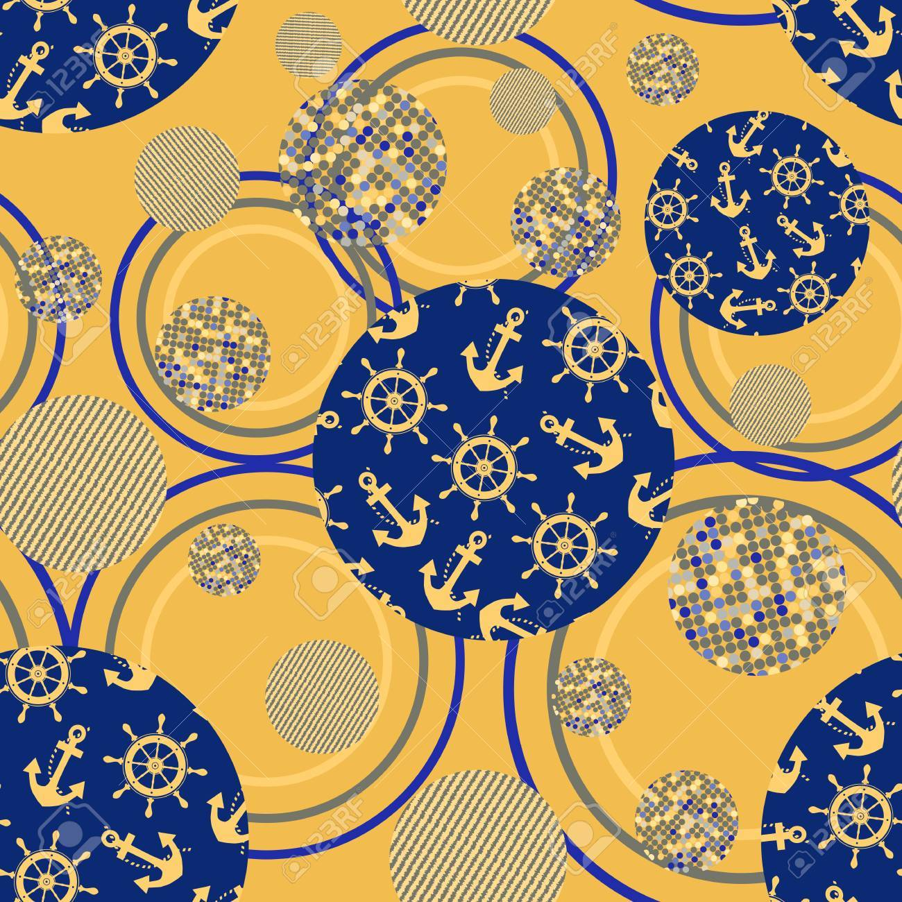 Ornament Of Abstract Circle Seamless Pattern Vector Illustration Anchor Helm Sea Gold And