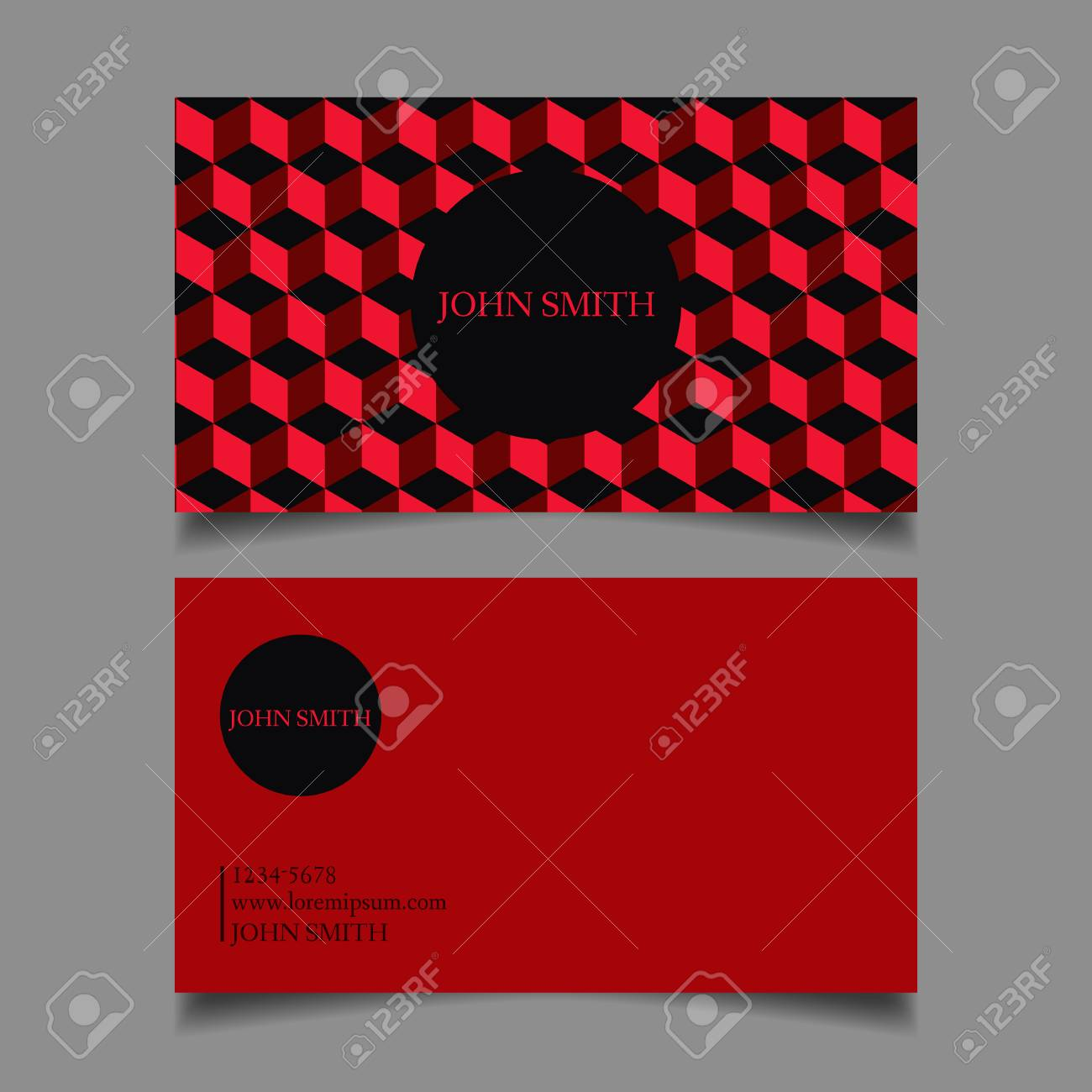 Business Card Template Editable Neat Red Cubes The Design