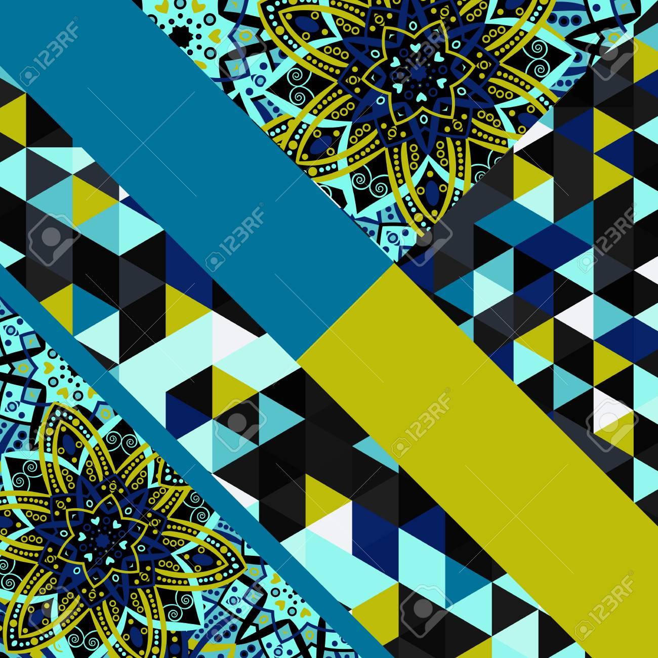Abstract Hand Drawn Geometric Pattern Triangle Or Background Poster Card Textile
