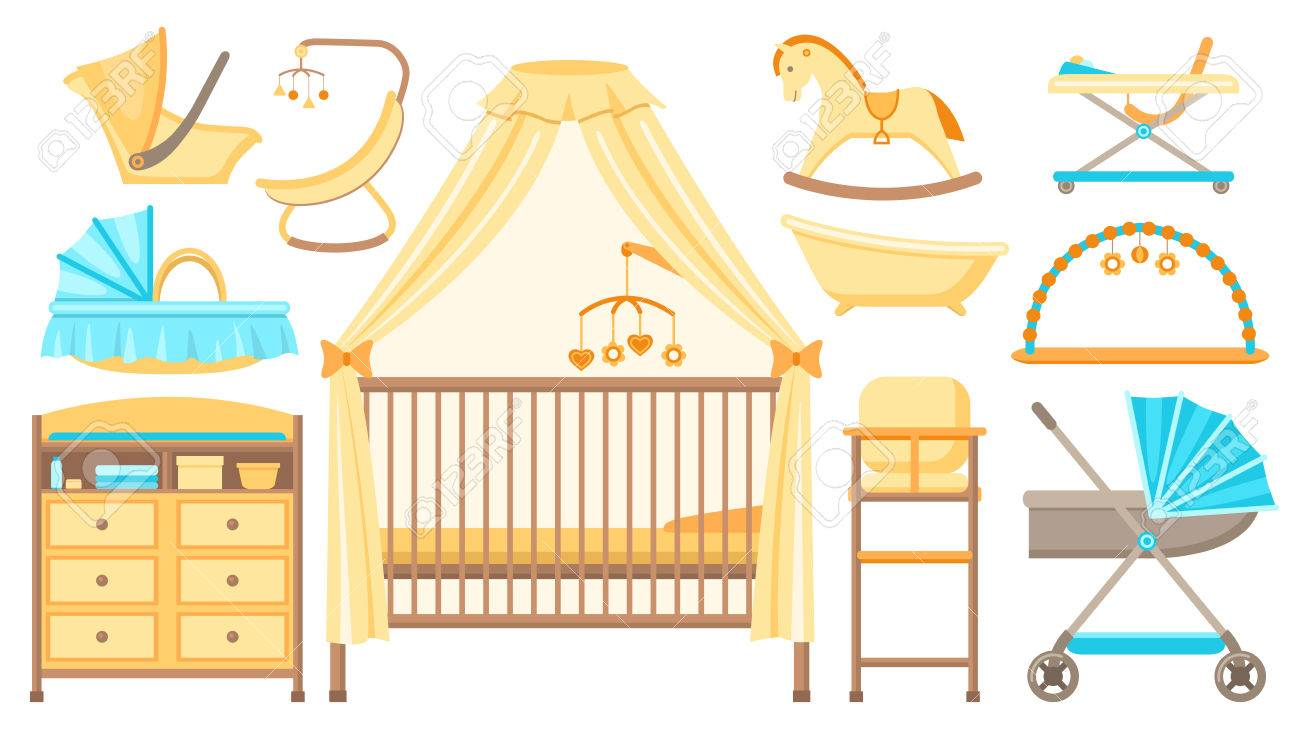Baby Furniture And Equipment Set. Cot, Changing Table, Stroller ...