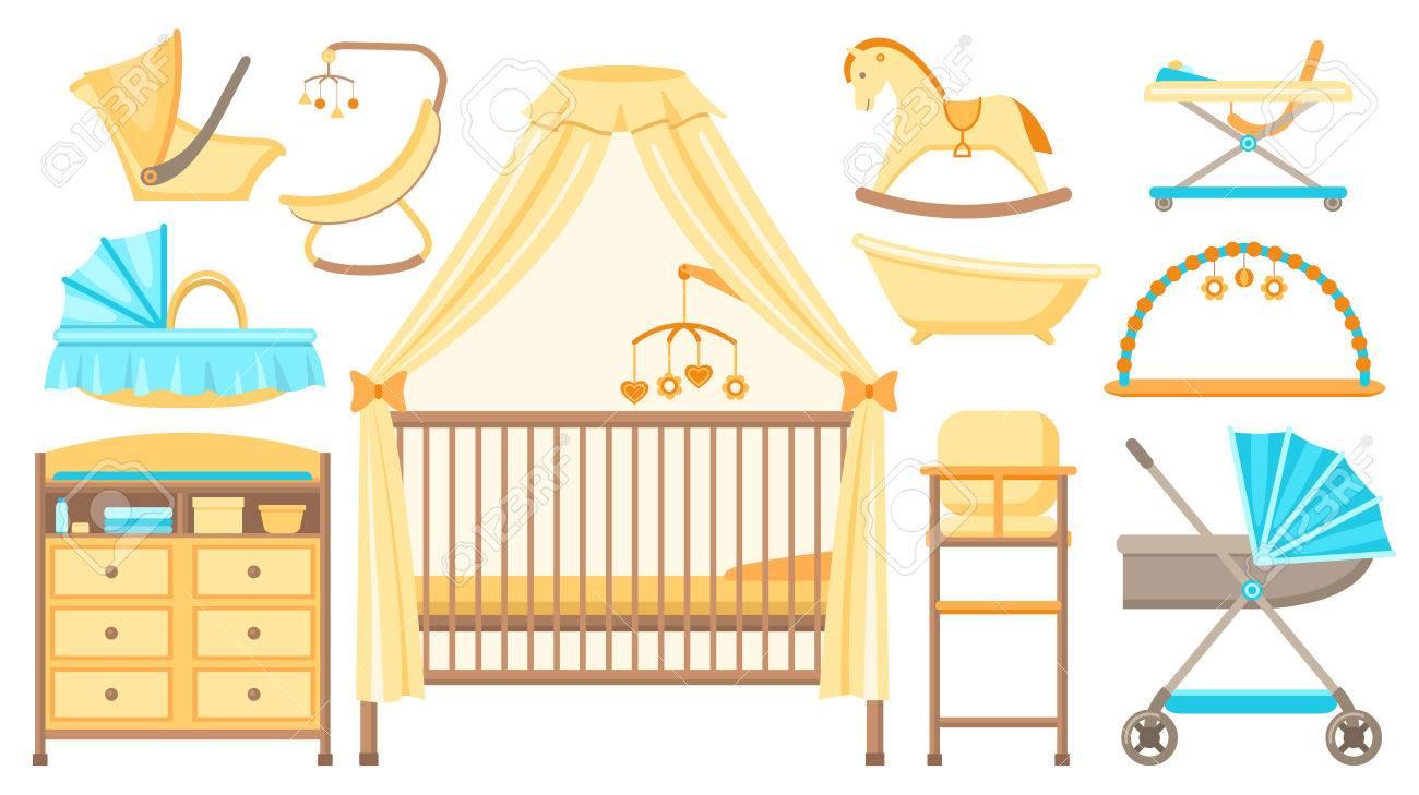 Muebles De Bebé Y Equipo. Cuna, Cambiador, Cochecito, Cuna, Baño ...