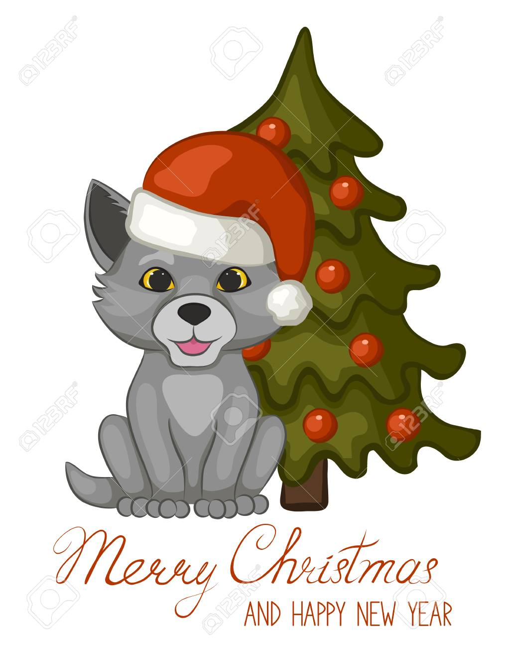 Christmas Wolf.Cute Wolf Cub In A Red Santa Claus Hat Near A Christmas Tree