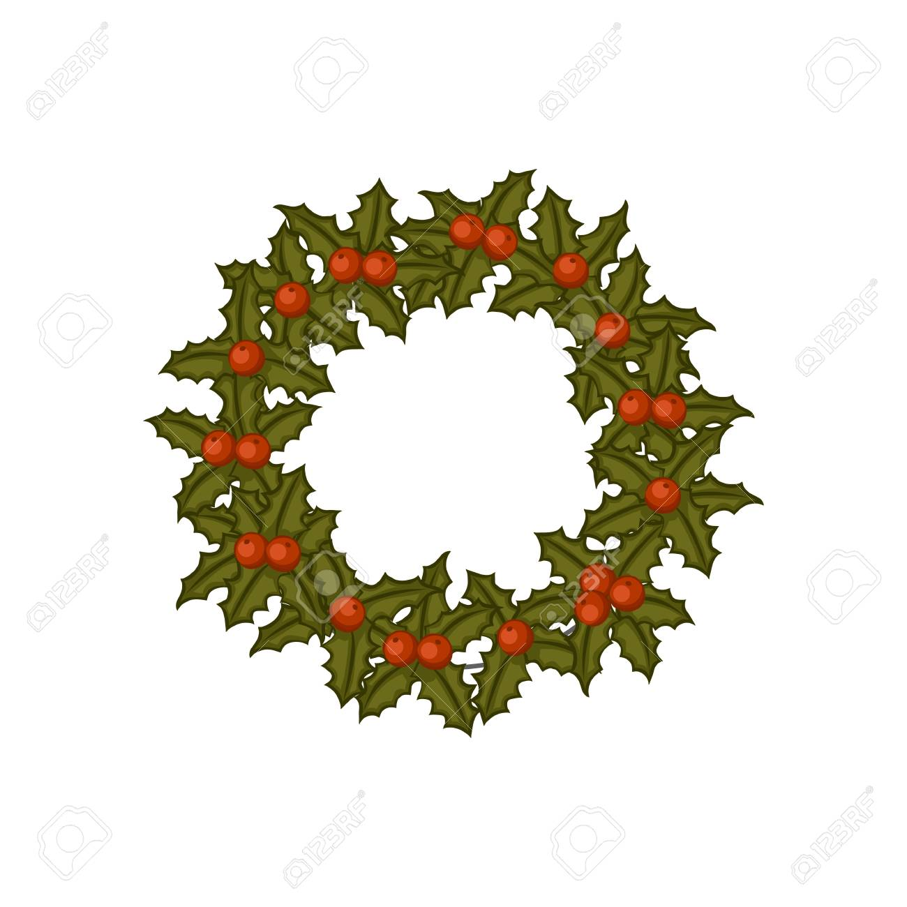 Christmas Wreath With Mistletoe Cartoon Icon Vector Illustration Royalty Free Cliparts Vectors And Stock Illustration Image 91244966