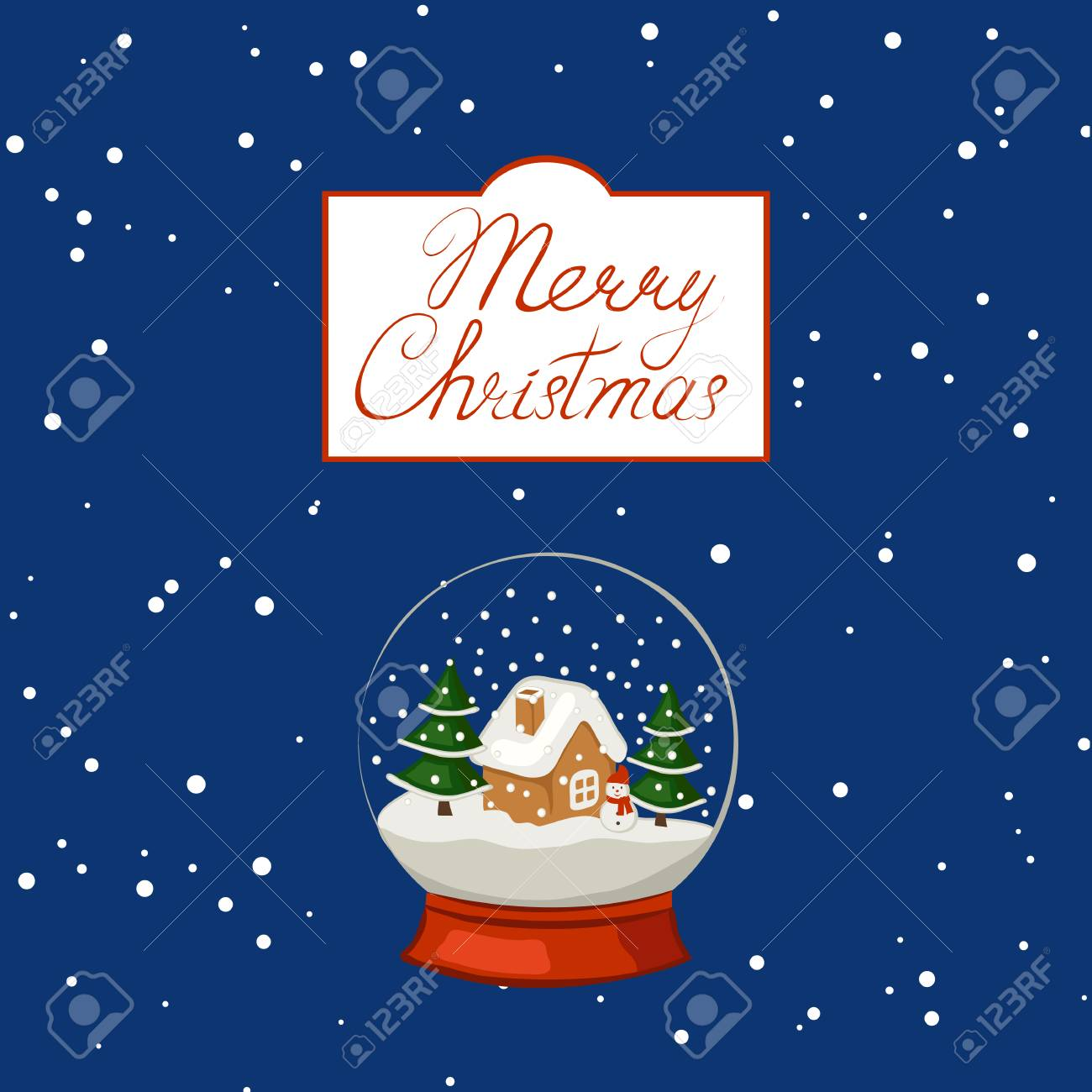 Merry Christmas Poster Banner Greeting Card Snow Globe Against