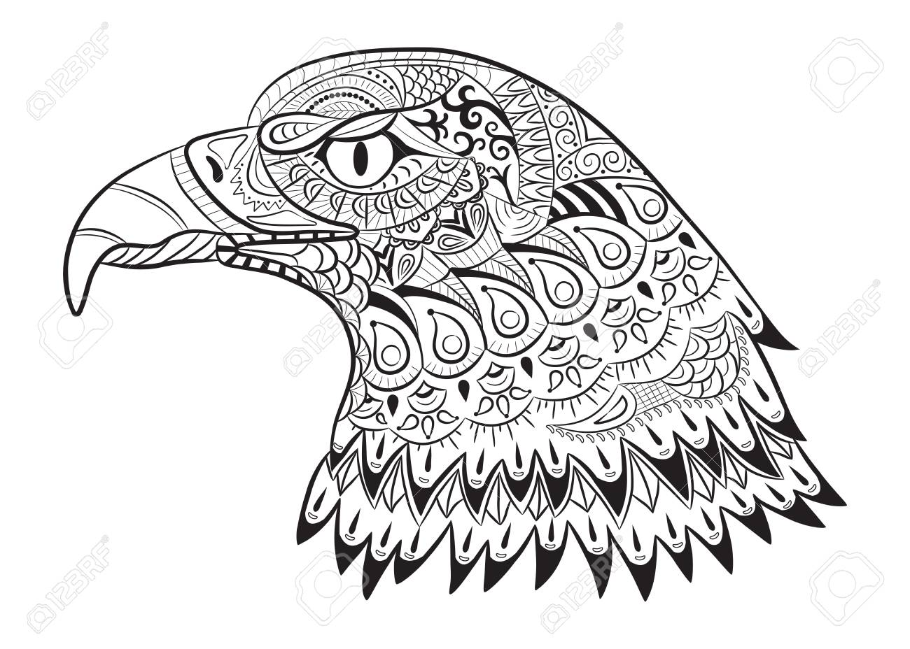 Hand drawn eagle. Doodle for coloring page for adults, t-shirt..