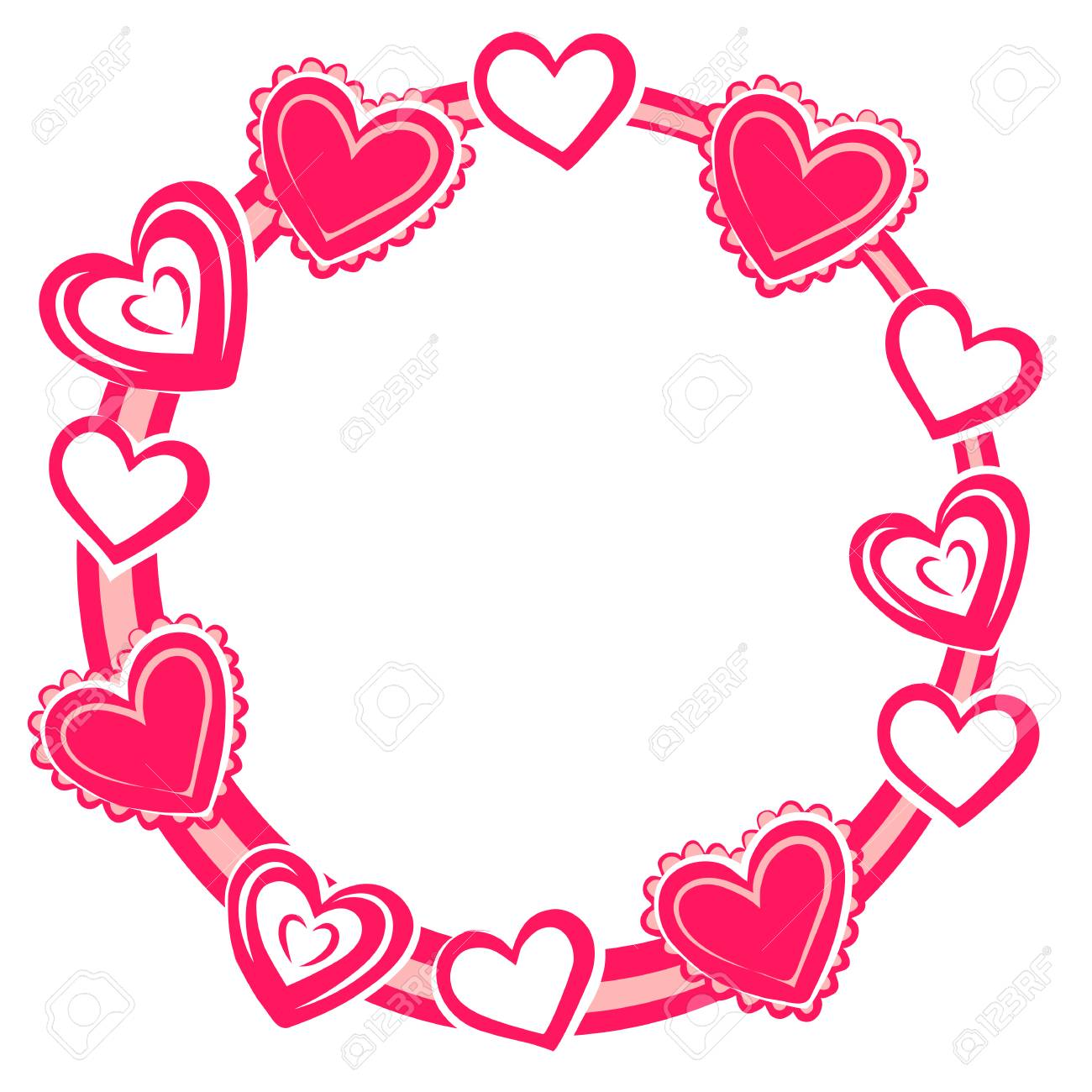 Frame Is Decorated With Hearts For Valentine\'s Day. Vector ...