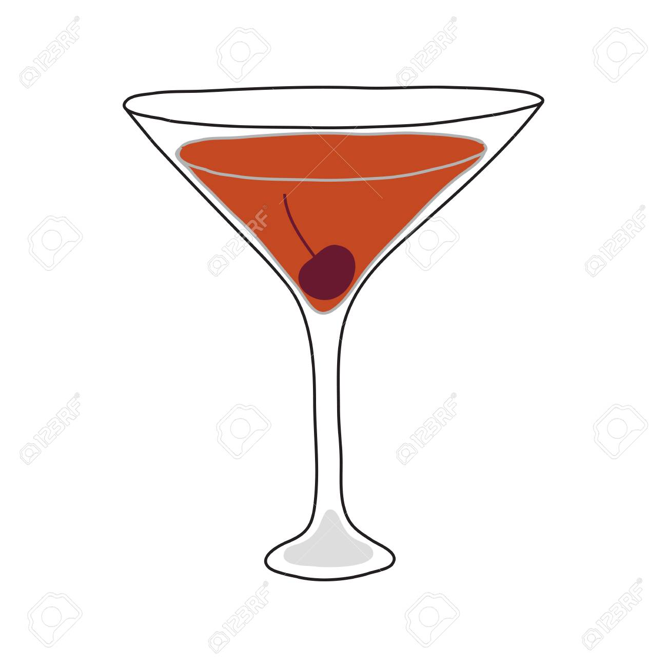 The Manhattan Cocktail Hand Drawn Style Royalty Free Cliparts Vectors And Stock Illustration Image 95817992