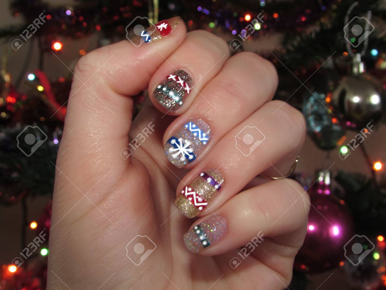 Nail Art Christmas Tree, Figure, Sequins, Glitter, Shining, Gold ...