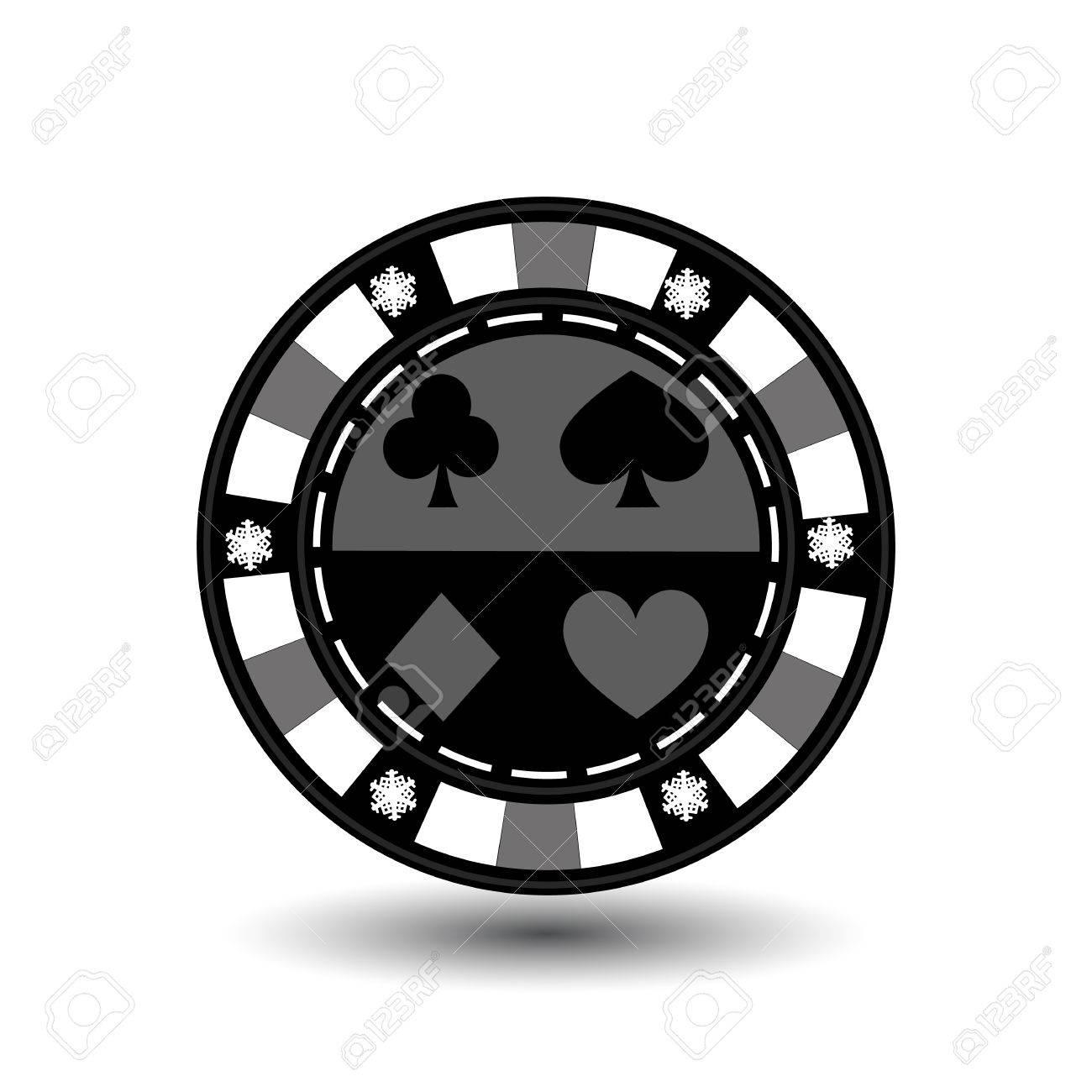 Chip Poker Casino Weihnachten Neues Jahr. Ikonenvektorillustration ...