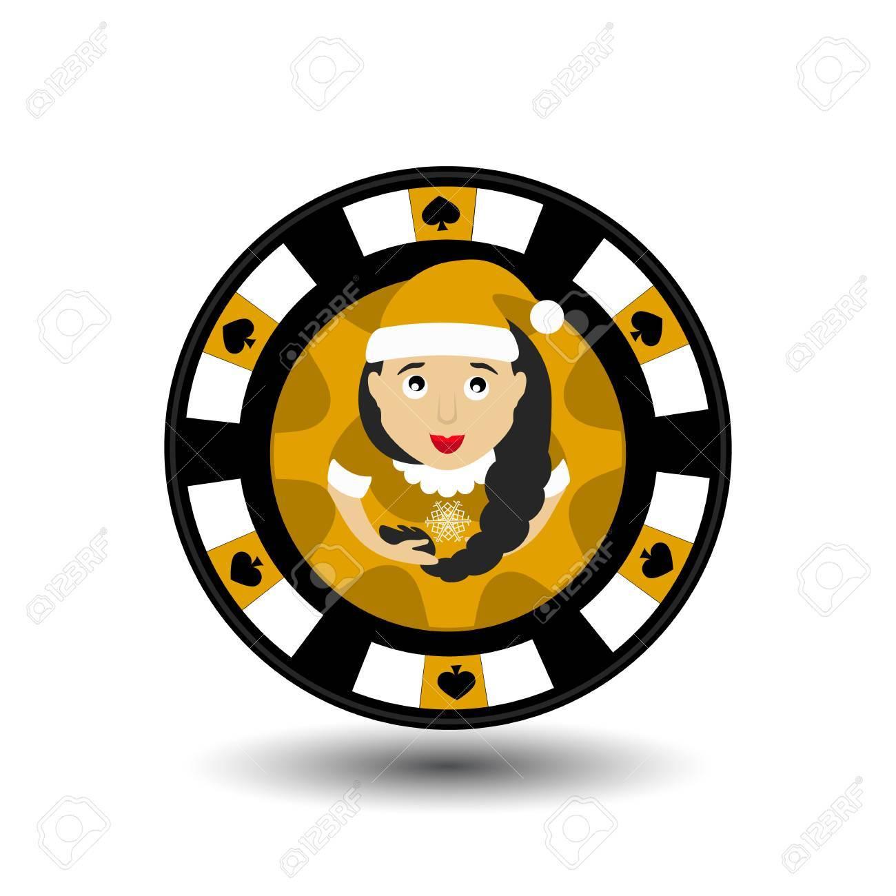 Chip Poker Casino Weihnachten Neujahr. Ikonenvektorillustration Auf ...