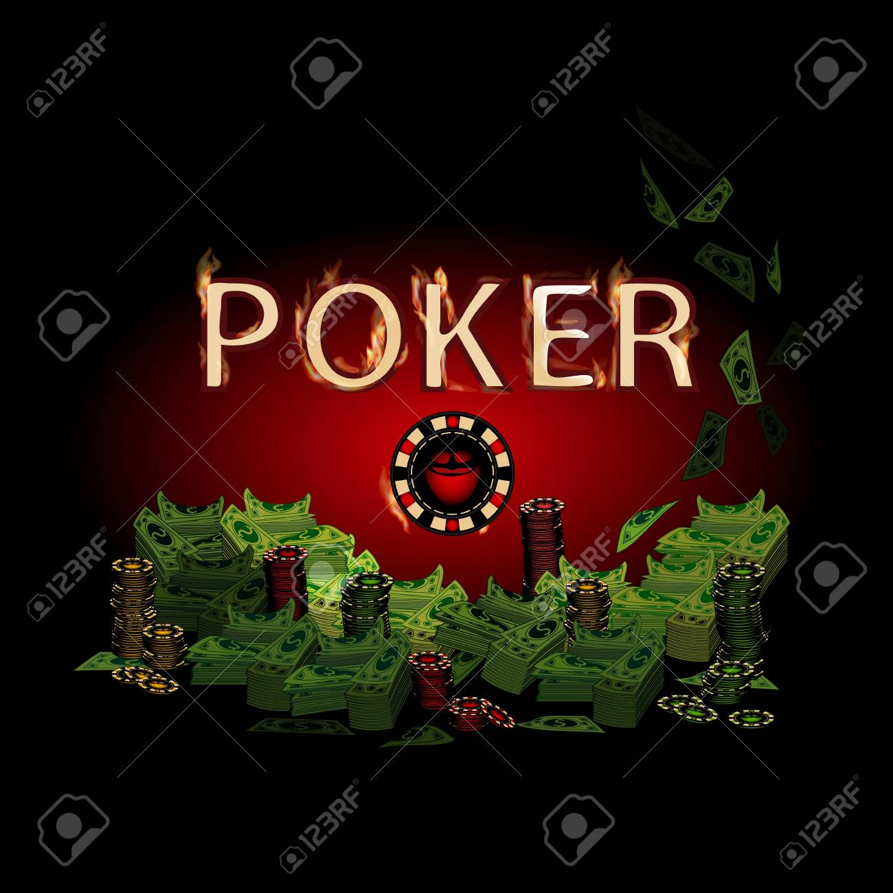 Poker legend fire  Money on a dark background  Simple fashion