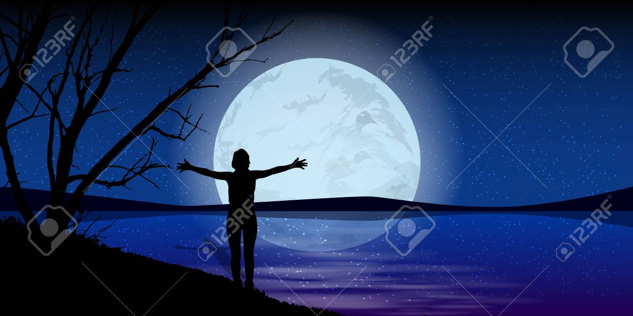 Moon On The Night Sky Man Hands Stretch Silhouette Of Sea Water