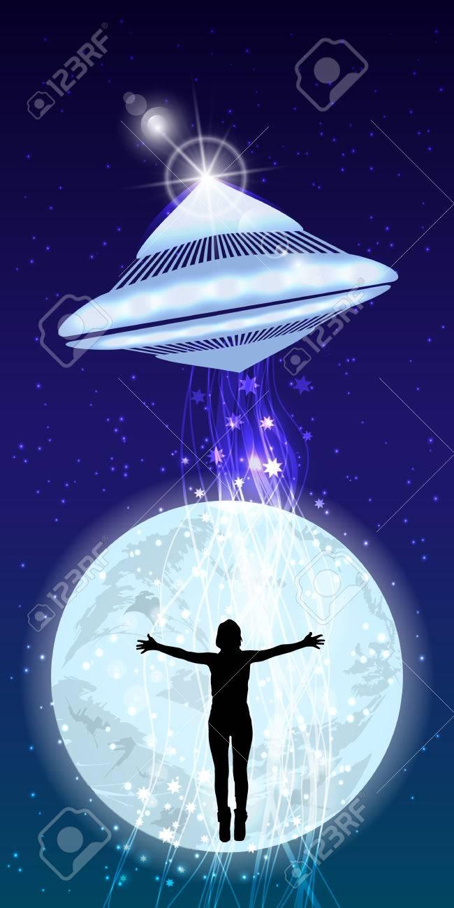 男の手は Ufo アブダクション夜空をストレッチします イラスト Web サイト スマート フォン タブレット Pc 印刷などの壁紙を使用します のイラスト素材 ベクタ Image