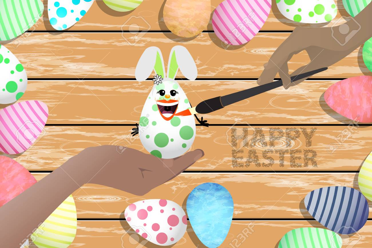Hermosa Ilustración De Pascua. Huevo De Pascua - Conejo Para Pintar ...