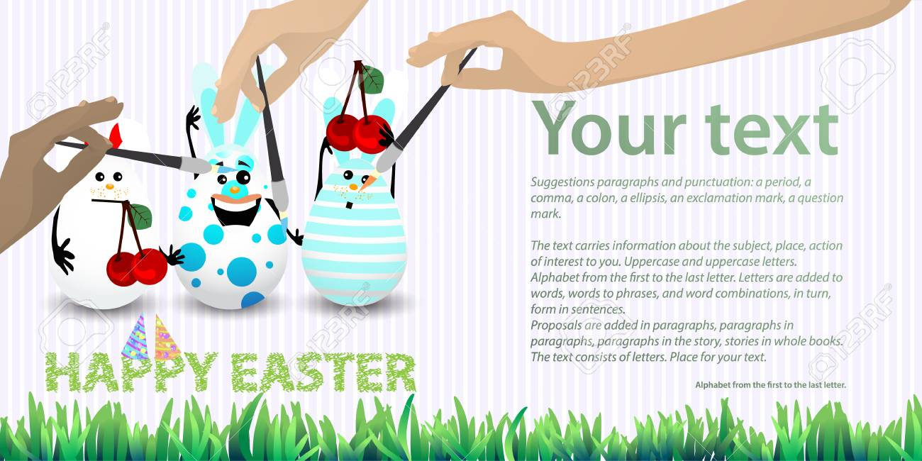 76d0e66a4d44 Easter illustration with place for text. Rabbit-eggs with a balloon of air  and