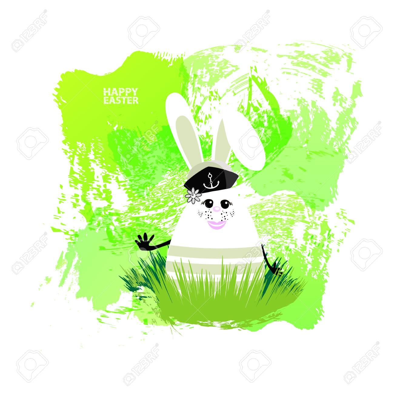 Easter Illustration For Your Design Cheerful Egg Rabbit Symbol