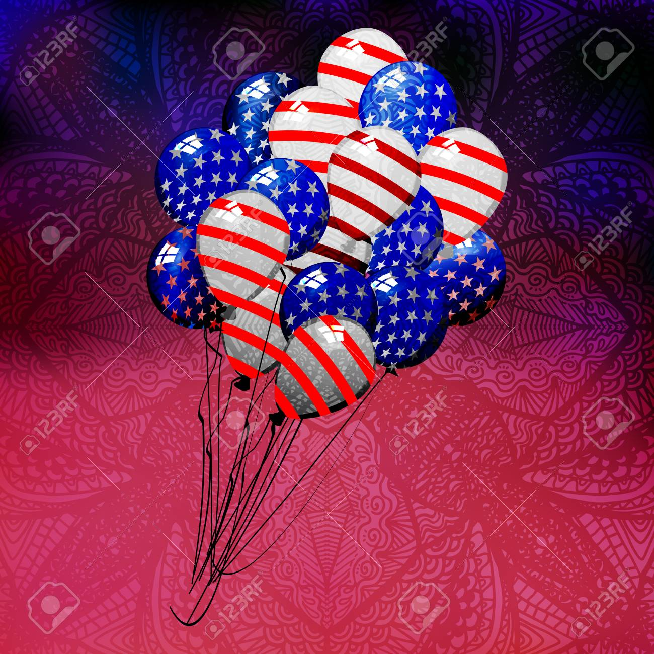 Independence Day United States. Balloons Fly Up. Coloring American ...