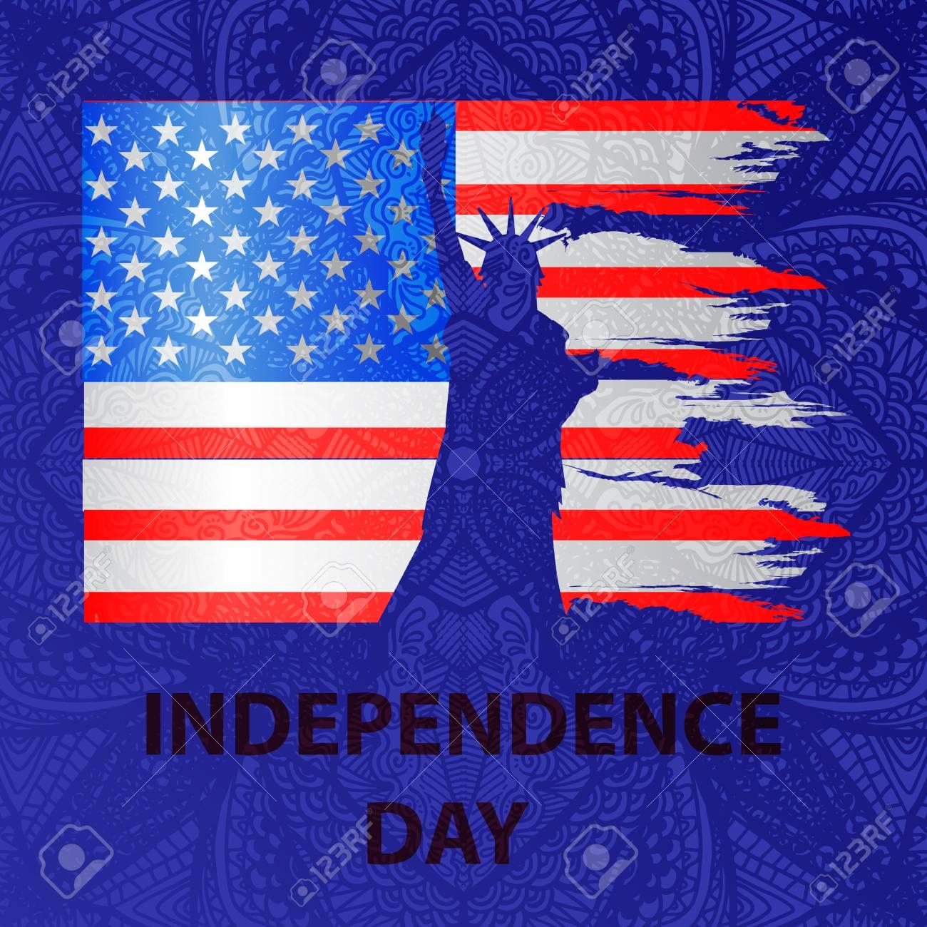 Día De La Independencia De Los Estados Unidos Bandera Americana En Un Fondo Modelado De Un Dibujo De La Mano Square Es Azul