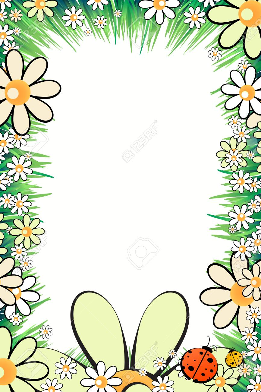 Photo Frame Summer. Vector Illustration For Your Design. Ladybugs ...