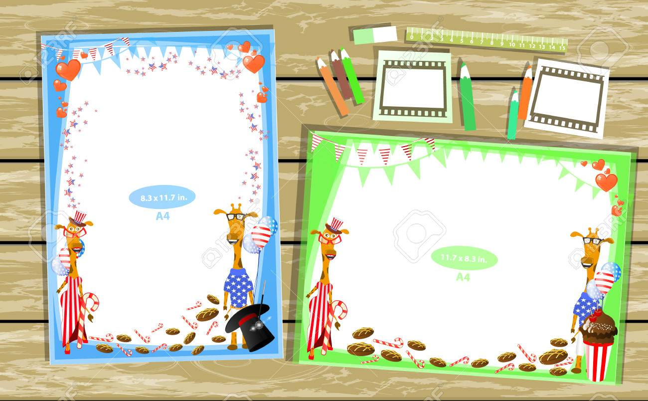 Photo Frame On The Table Horizontal And Vertical Illustration