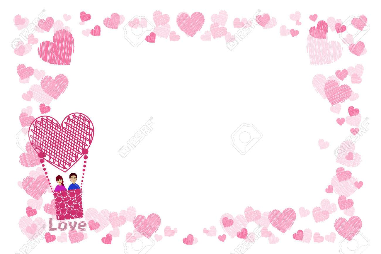 Photo Frame. Hearts. For Lovers. The Couple In A Balloon Is Flying ...