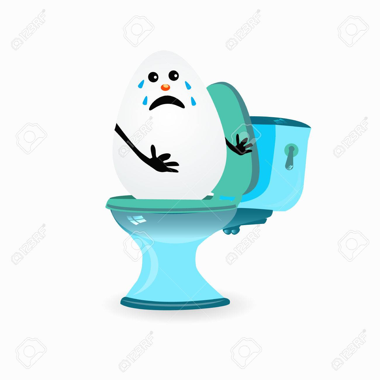 Incredible Constipation Concept Funny Egg Cries Sitting On The Toilet Bralicious Painted Fabric Chair Ideas Braliciousco