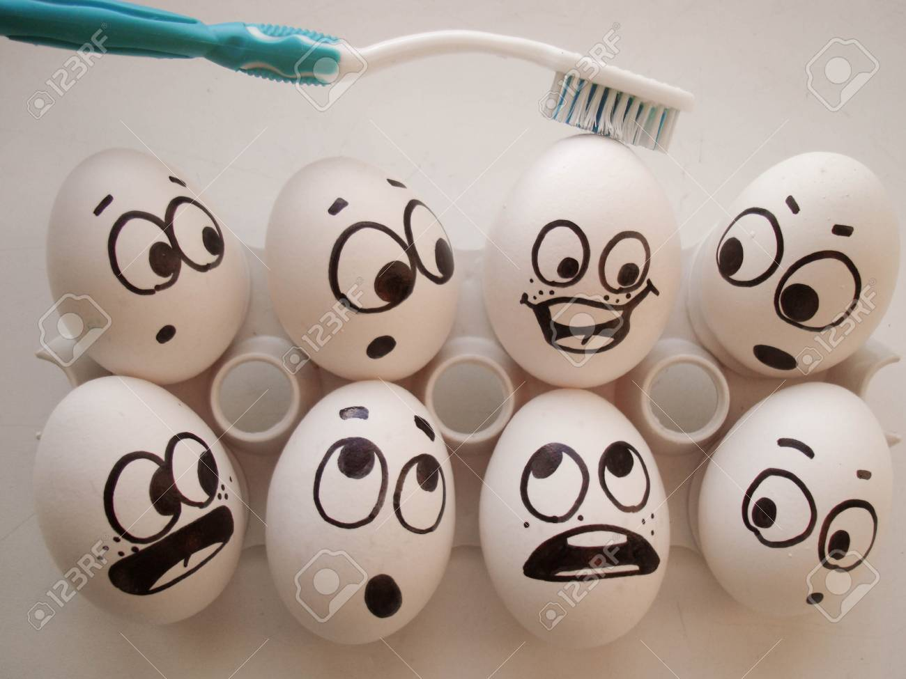teeth clean concept  funny photo  eggs in a box