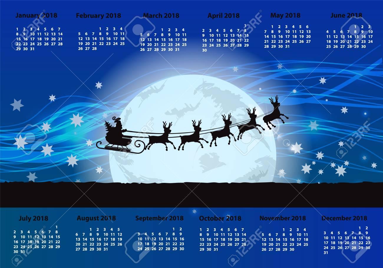 noel 2018 lune Le Calendrier Pour 2018. Orientation Horizontale. Nuit Et  noel 2018 lune