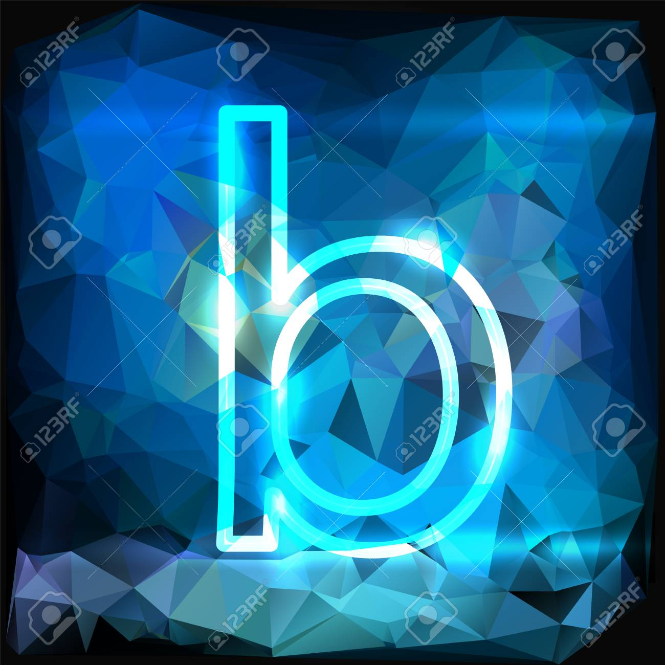 Lowercase Letter B On Abstract Blue Background Royalty Free
