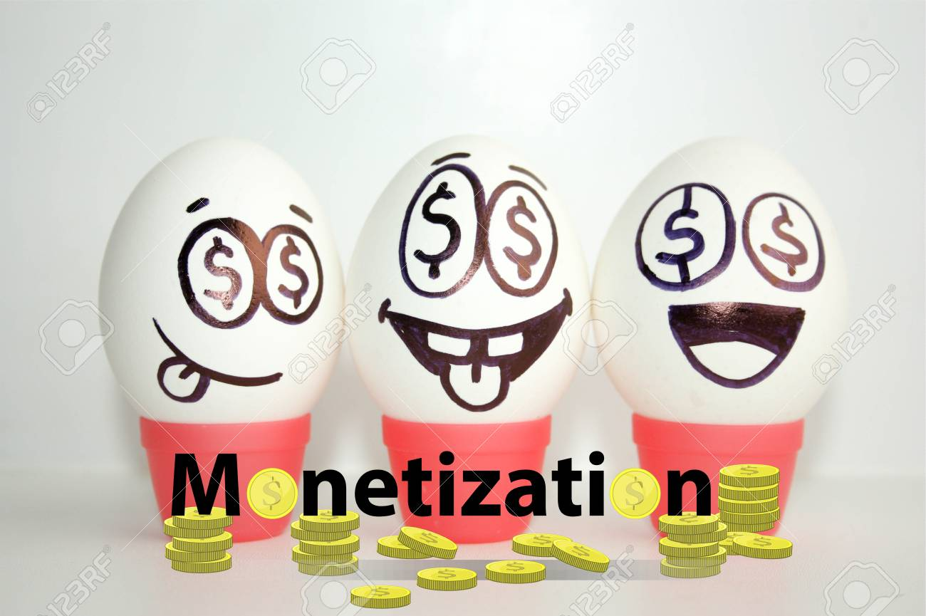 Monetization Concept Funny And Funny Eggs With A Face Satire