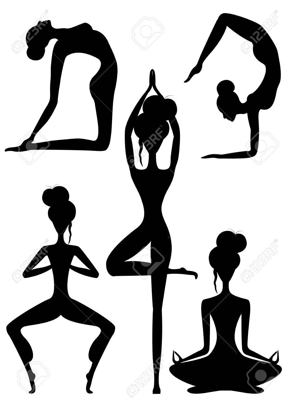 Set of black and white female yoga poses vector illustration stock vector 67558808