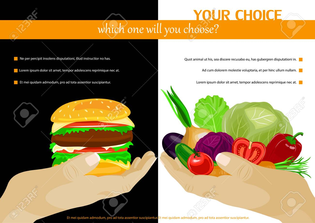 Healthy food choice poster template  Junk food vs healthy food