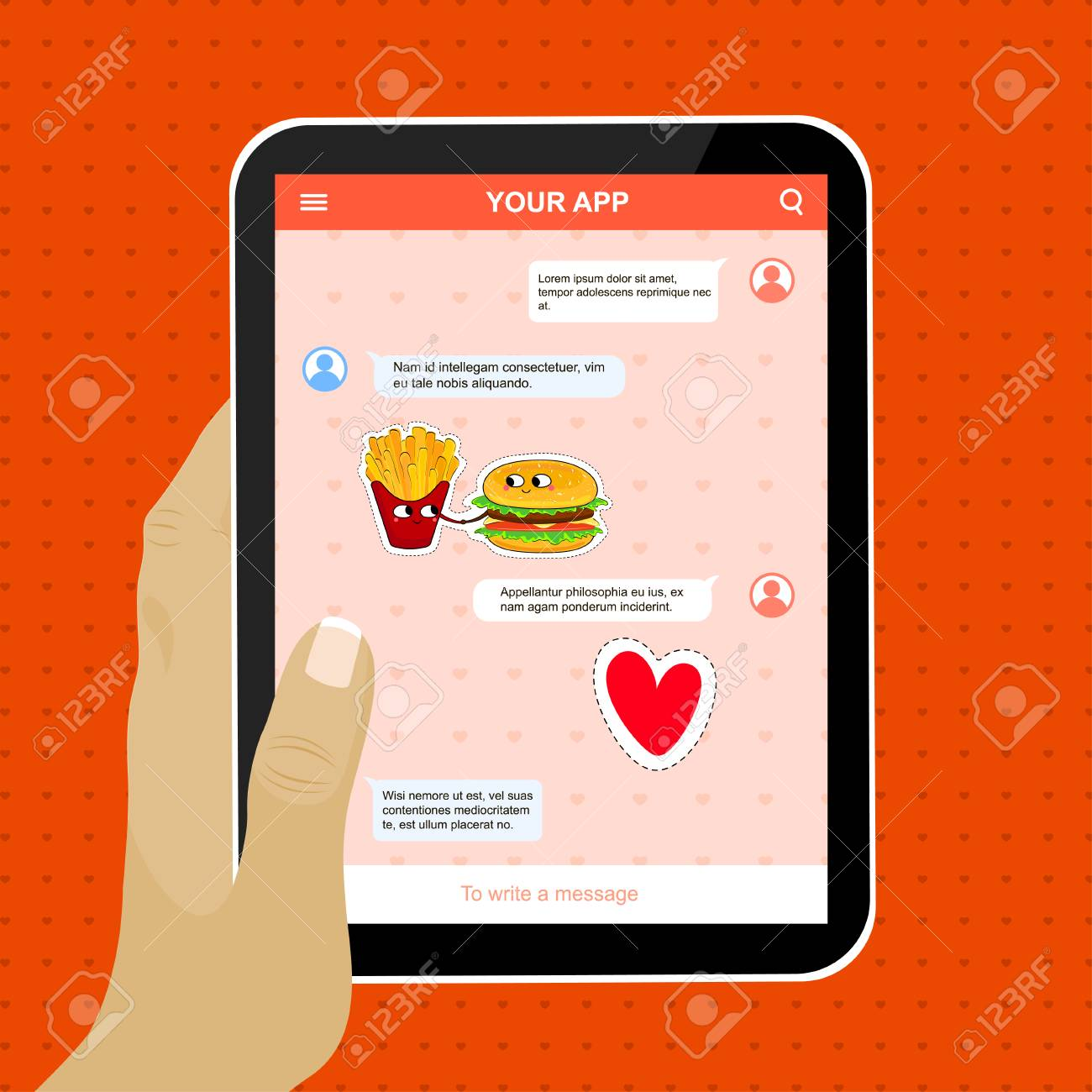 mobile application example with funny love stickers cute cartoon