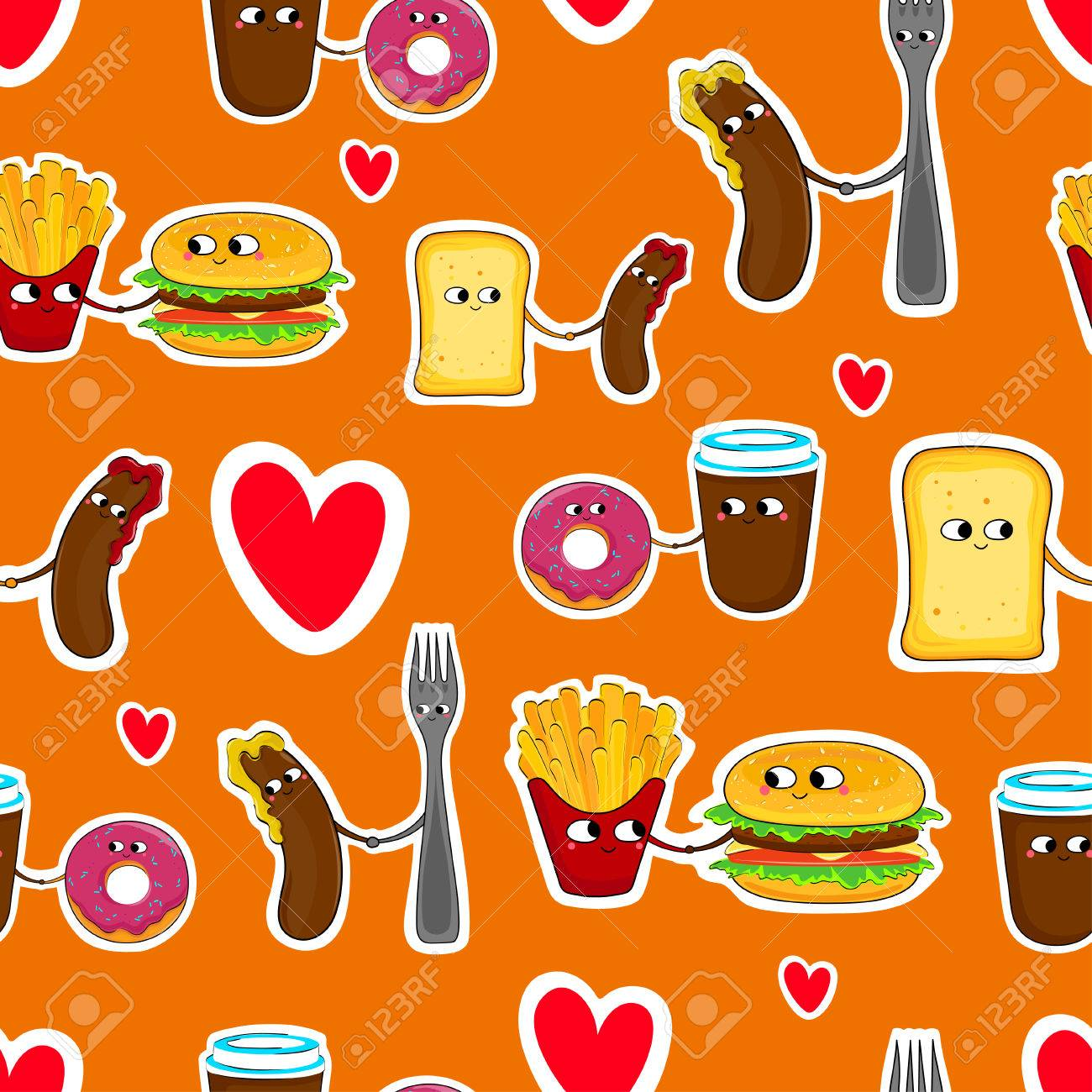 fast food funny love stickers cute cartoon seamless emoticons