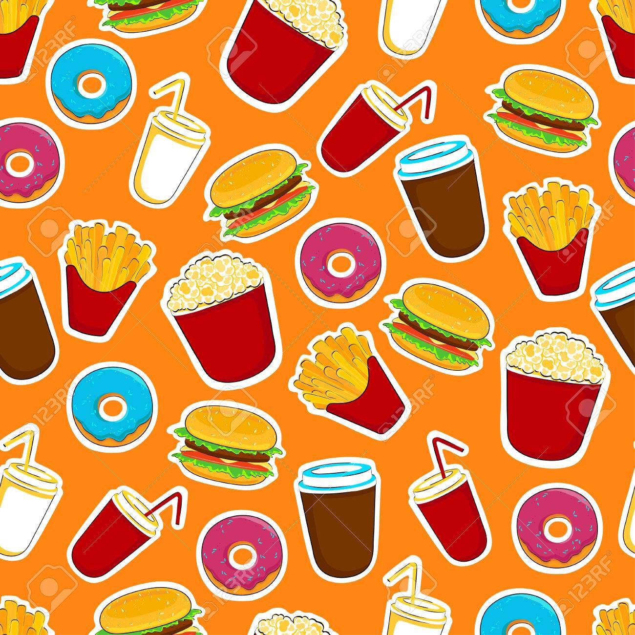 Fast Food Cartoon Stickers And Pathces Seamless Food Background