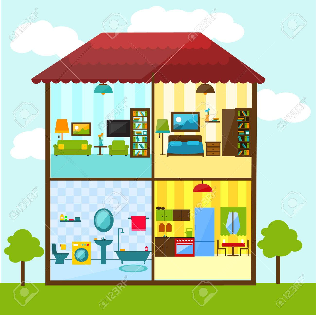 Living Room Bedroom Bathroom Kitchen. Cross Section Of House In Flat Style Illustration Bathroom Living Room Kitchen