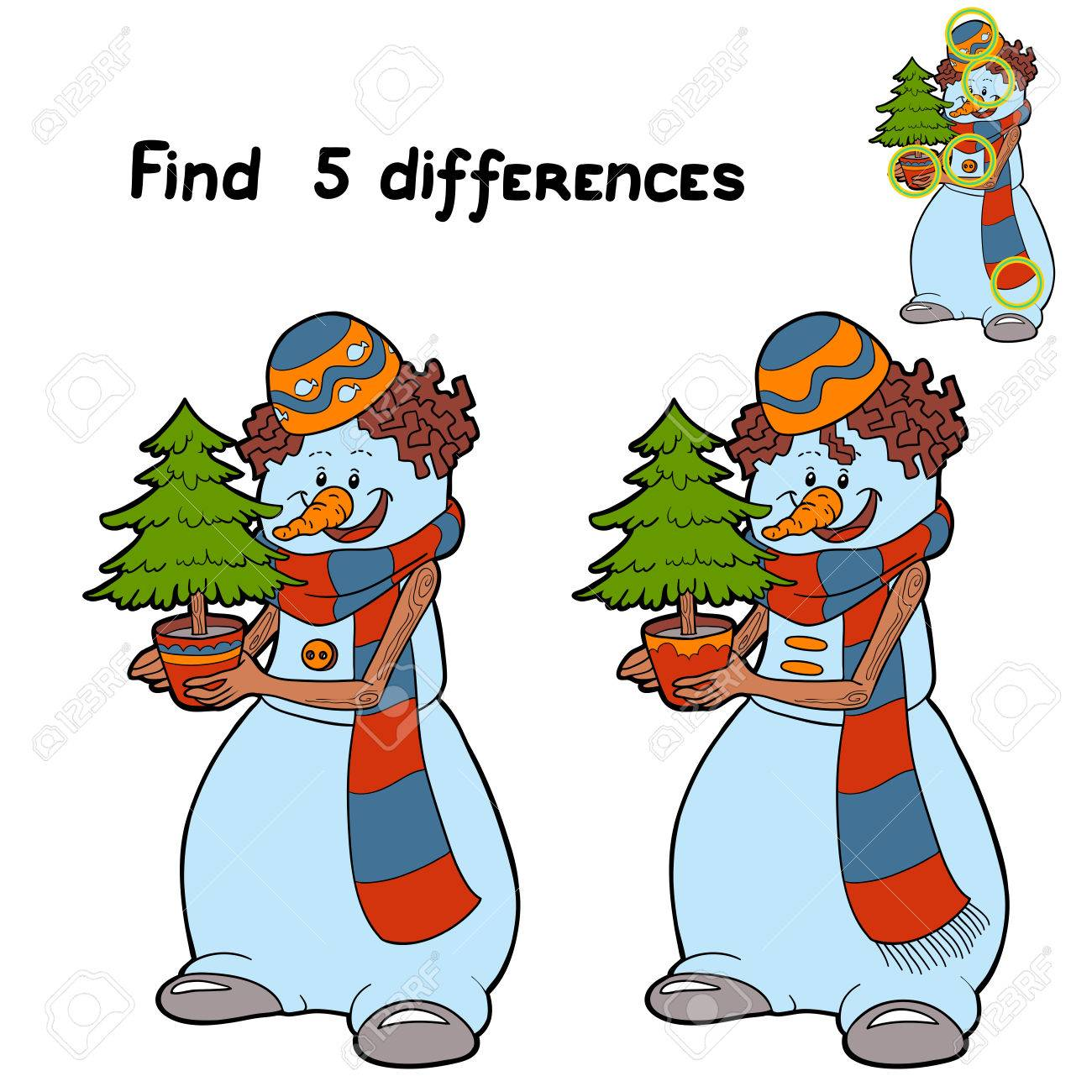 Find 5 differences (snowman) - 33283242