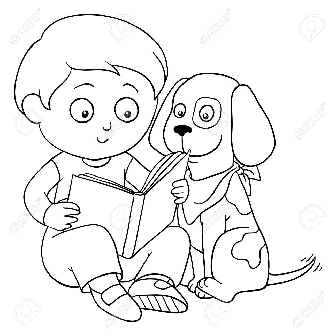 Libro Para Colorear (niño Y El Perro) Ilustraciones Vectoriales ...