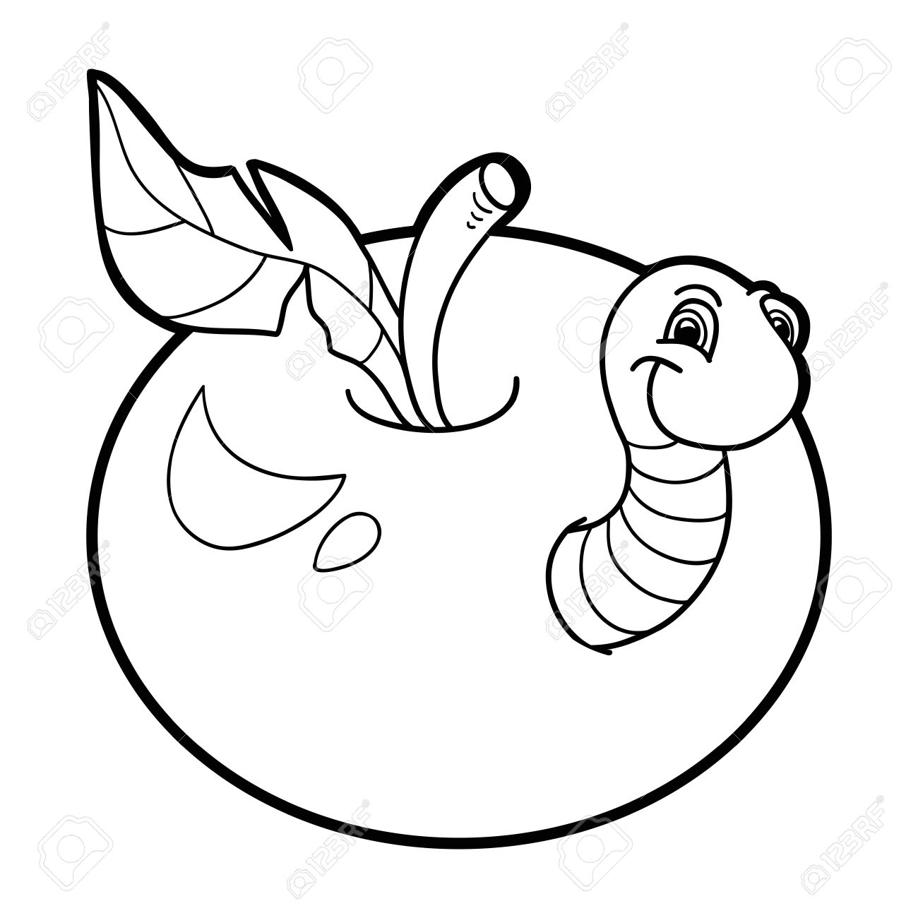Coloring Book Worm And Apple Stock Vector