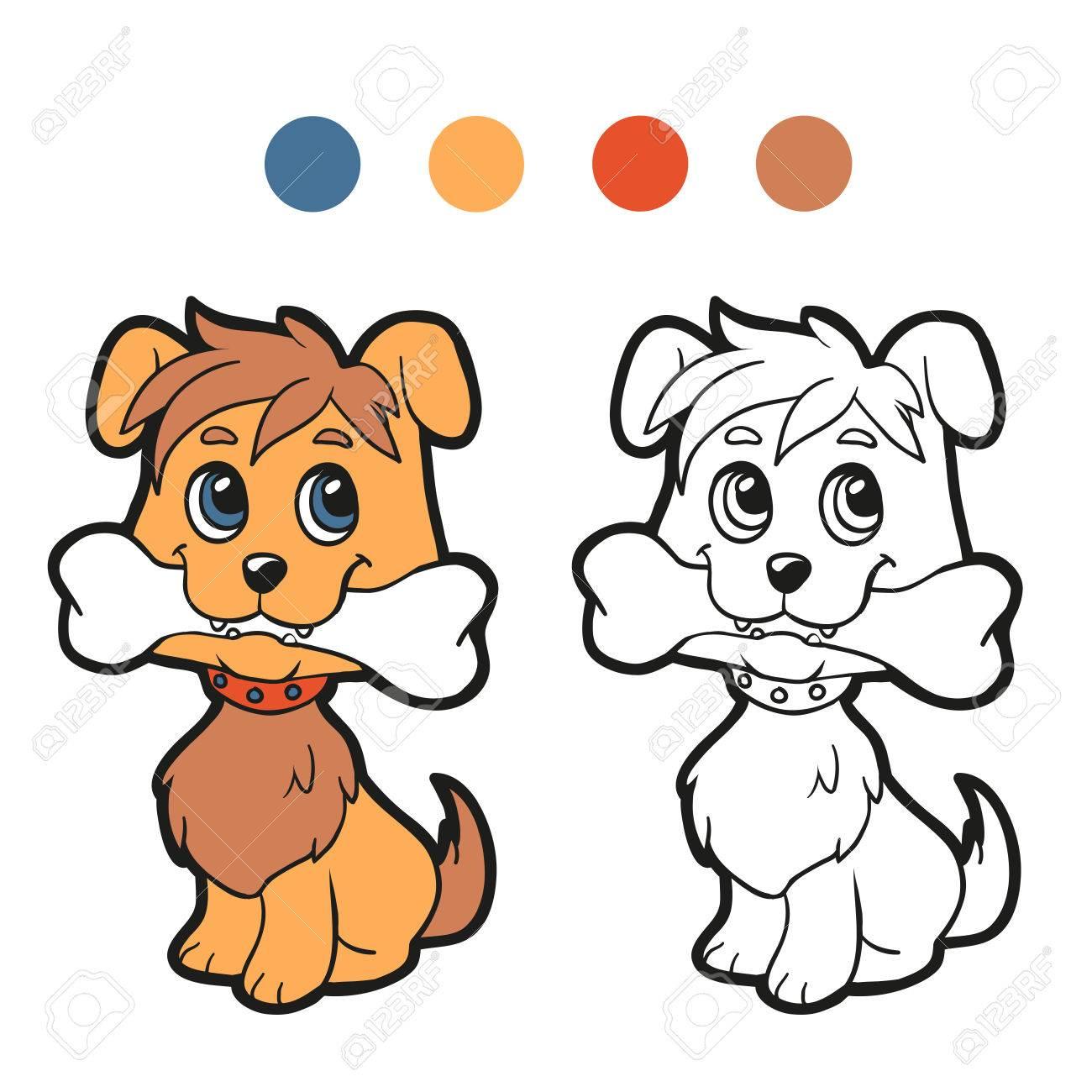 塗り絵 犬のイラスト素材ベクタ Image 33866979