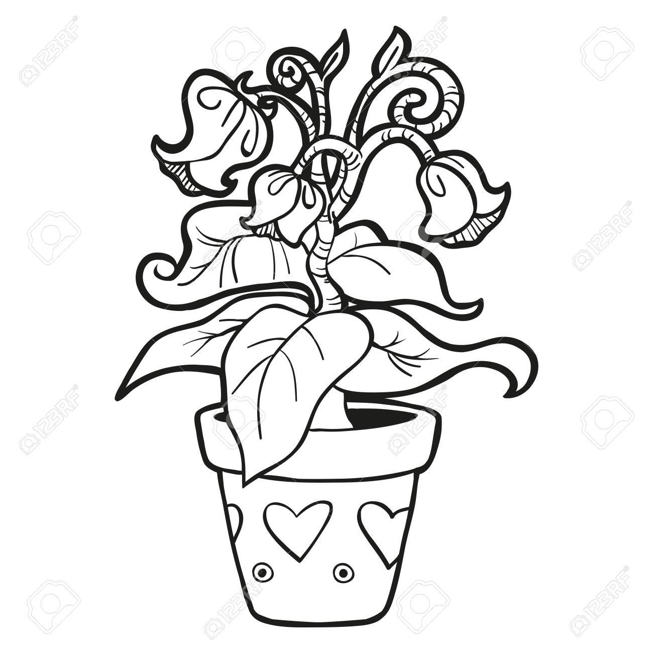 Coloring Book Flowers Stock Vector