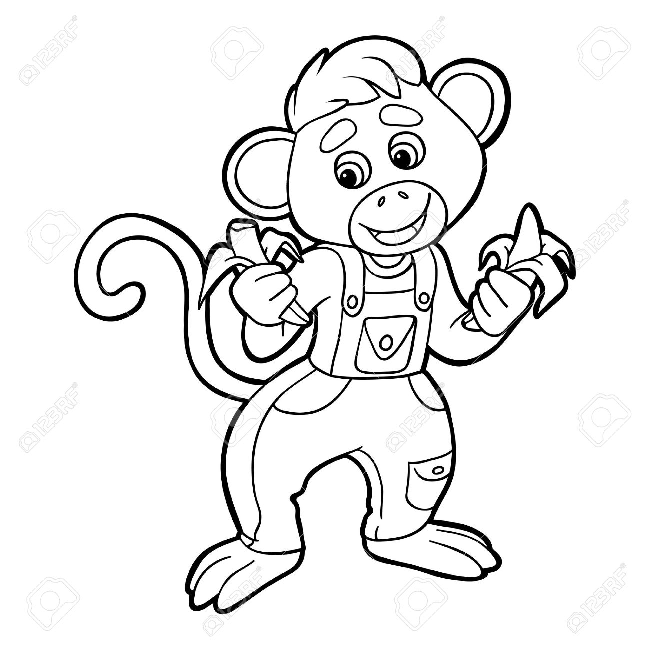Coloring Book (monkey) Royalty Free Cliparts, Vectors, And Stock ...