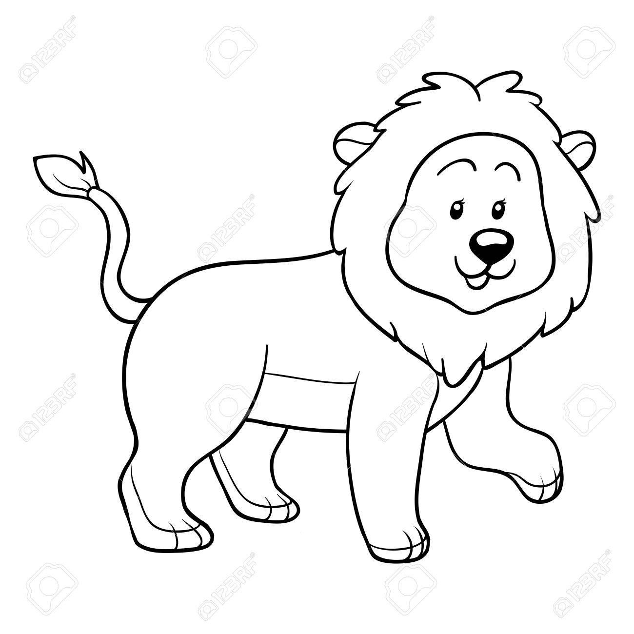 Libro Para Colorear (león) Ilustraciones Vectoriales, Clip Art ...